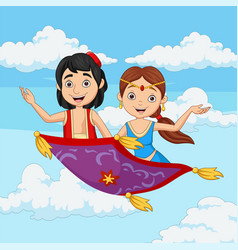 cartoon aladdin and jasmine travelling on flying c vector image