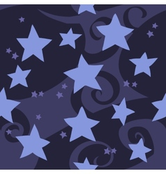 cartoon flat blue stars seamless pattern vector image