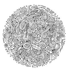 Cartoon hand-drawn doodles hippie vector