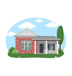 Cartoon house exterior with blue clouded sky front vector
