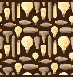 cartoon lamps old retro light bulb seamless vector image
