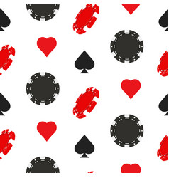 casino poker seamless pattern with card suits vector image