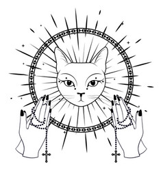 Cat face praying hands holding a rosary vector