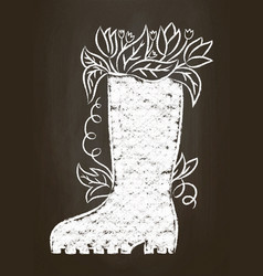 chalk silhouette of rubber boot vector image