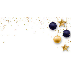 christmas background with shiny golden and blue vector image