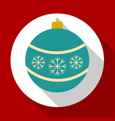 christmas bell blue color on red background with vector image