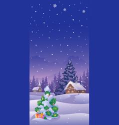 Christmas landscape vertical vector