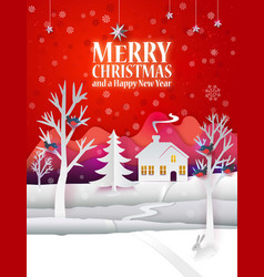 christmas paper poster vector image