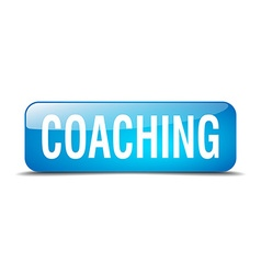 coaching blue square 3d realistic isolated web vector image