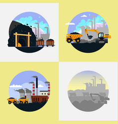 coal mining industry set flat vector image
