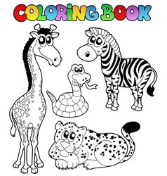Coloring book tropical animals 1 vector