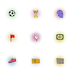 Competition football icons set pop-art style vector