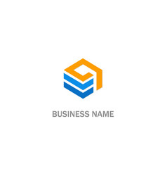 cube line data logo vector image