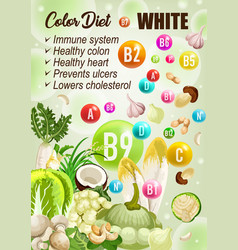 Detox color diet white fruits vegetables vitamins vector