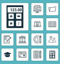 Education icons set with notebook essay writing vector