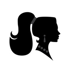 female head silhouette beauriful girl woman with vector image