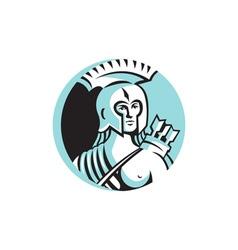 Female Spartan Warrior Circle Retro vector image