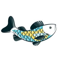 fish catch fishing unique silhouette vector image