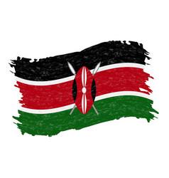Flag of kenya grunge abstract brush stroke vector