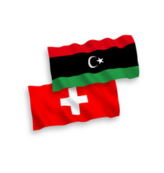 Flags libya and switzerland on a white vector