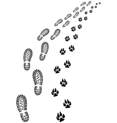 footprints man and dog vector image