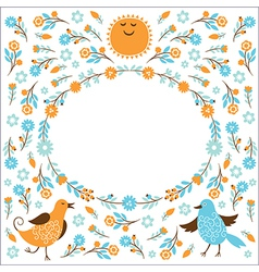 Frame with birds and flowers vector image