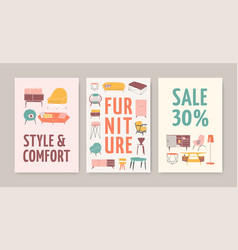 Furniture store posters templates set vector