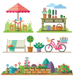 Garden landscapes summer and spring vector image