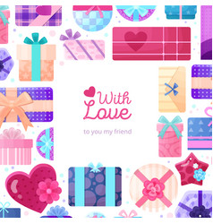 gifts boxes packaging frame vector image