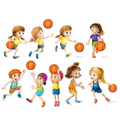 Girls and boys playing basketball vector