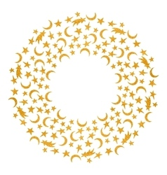 Gold textured space round frame vector image