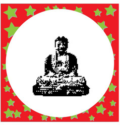 great buddha of kamakura black 8-bit vector image