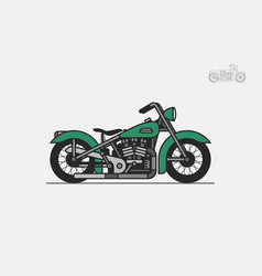 Green vintage motorcycle vector