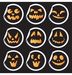 Halloween faces sticker vector