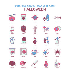 Halloween icon dusky flat color - vintage 25 icon vector