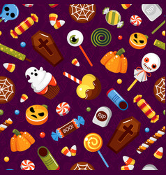 halloween sweets trick or treat seamless vector image