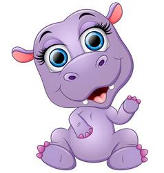 happy cartoon hippo waving vector image