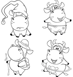 Happy cows Clip Art Cartoon Coloring book vector image
