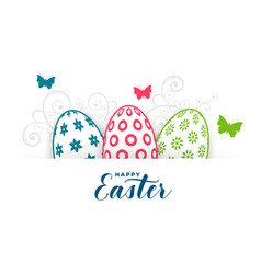 happy easter fectival greeting with eggs and vector image
