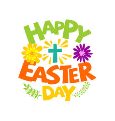 Happy easter lettering and graphic vector