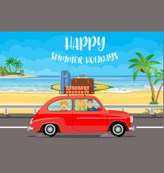 Happy family traveling car vector