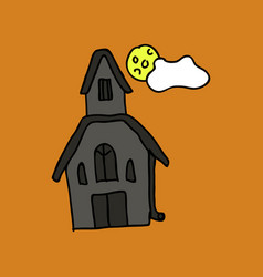 Haunted house and full moon with ghosthorror vector