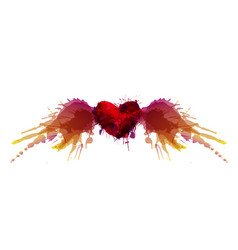 heart with wings made colorful grunge splashes vector image