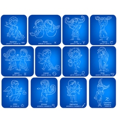 Horoscope signs kids set vector image