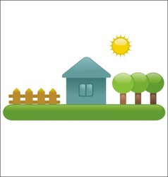 House fence trees vector image