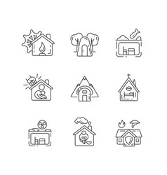 Human shelters linear icons set vector
