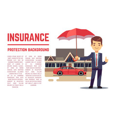 Insurance concept with insurance agent vector