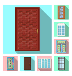 isolated object of door and front sign collection vector image