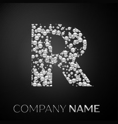 letter r logo silver dots alphabet logotype vector image