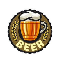 Logo beer in a glass mug vector